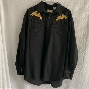 SOUTHERN CLASSICS LARGE BLACK & GOLD BUTTON DOWN